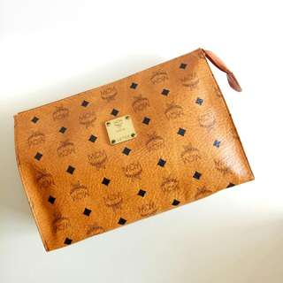 Authentic MCM Visetos Cognac Clutch Bag