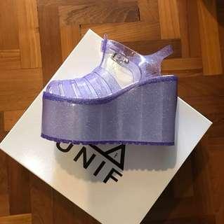 UNIF Purple Glitter Jelly Platform Shoes