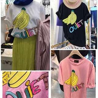🚚 韓國  手工縫亮片字母香蕉T