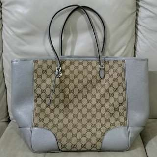 100% Real Gucci Tote bag 2 tone calf leather  with cotton(9成新如圖只用過5次原價約$1××××)