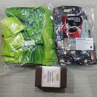 緑茶 X 100包,雀巢咖啡 X 100包(1.8克每包),早餐紅茶 X 25包(2克每包)