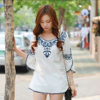 embroidery white top/dress