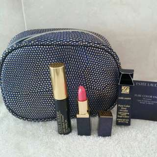 Estee Lauder lipstick and mascara