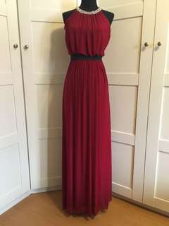 Evening Gown/ red dress/ dress/ Long dress/ embellished maxi dress/ tulle dress/ maroon dress/ lady in red