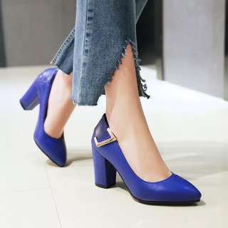 Size 34-43 Pointed Toes Chunky High Heels