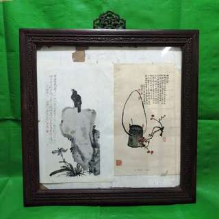Old rosewood painting frame, exquisite carving around the frame, suitable for Chinese calligraphy and painting. 旧酸枝木画框架,围绕框架雕刻精致的璎珞玲珰,适合装裱中国书法和中国画。