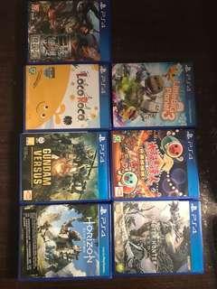 Ps4 games (只限全套銷售)(mhw,三國7,太鼓,小星球3,locoroco,高達,horizon)