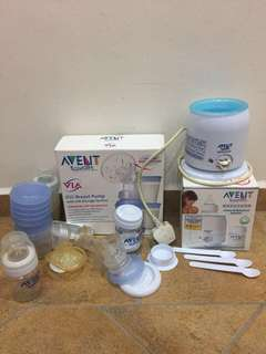 Avent breast pump, avent food/bottle heater, Pigeon steam sterilizer, Luv n care milk bottles, balls