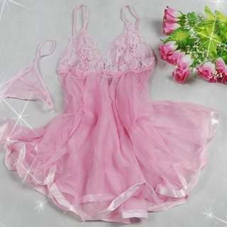 (0317) *Wholesales In Stock 批发价现货* Brand New , Pink, 2-pcs Lingerie Set, Dress, Sleepwear (By post only) Body Suit, Lace, Free Size 性感情趣内衣, birthday 生日, honeymoon蜜月, anniversary, valentine 情人节 S-L