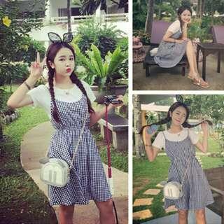 春夏新款韓版學院風白色上衣短袖上衣T恤棉麻格子格紋吊帶裙兩件式套裝連身裙洋裝