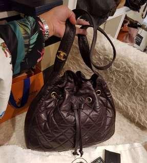 Chanel Vintage 深啡色羊皮索繩水桶袋