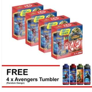 SHOCKING DEAL : NESTLE KITKAT 2F Share Bag 15 Pcs + Avengers Tumbler, Buy 4 (Random Design)