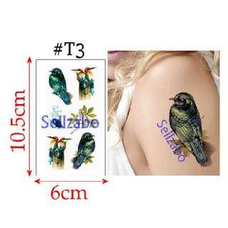 ✔$5 纹身粘纸 : 3D 小鸟 蝴蝶:Birds : Butterflies : Removable Tattoo Stickers : Fake : Wash Off : Women : Woman : Girls : Ladies : Female : Body : Face : Skin : Colourful : Stick : Paste : Tatoo : Tatto : 6cmx10.5cm : 6cm x 10.5cm