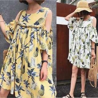 (XL~4XL) 2018 summer new Korean version of the shoulder pineapple short-sleeved doll dress