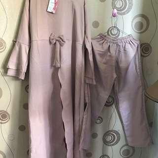 Baju muslim + celana all size