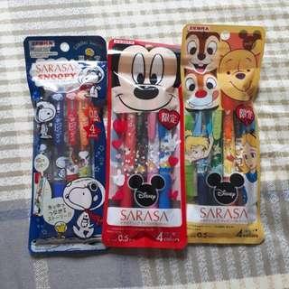 Sarasa disney mickey /winnie the pooh / snoopy pen set