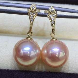 18K 鑽石💎耳鈎,11一12mm極品金粉色,皮滑透亮美爆的色彩,💰💰優惠價發售,歡迎咨詢訂購😊