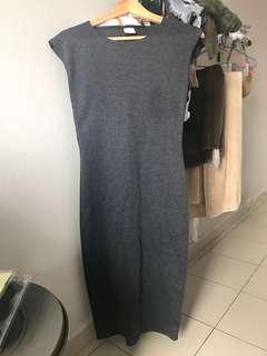 Dark Grey Patterned Midi Dress
