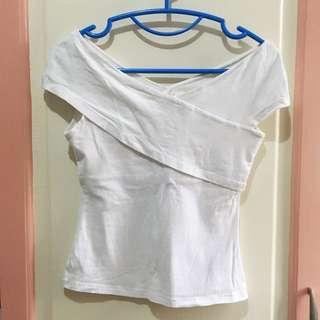 H&M cream semi off shoulder top