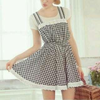 歐風格紋吊帶洋裝