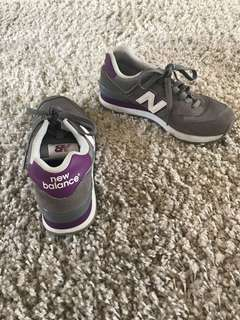 New balance grey and purple sneakers