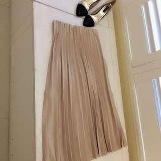 我的法式優雅氣質 百摺雪紡長裙 奶茶色