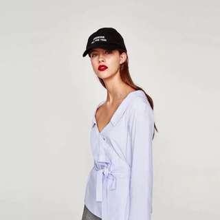 🚚 Zara V領性感小清新綁帶上衣