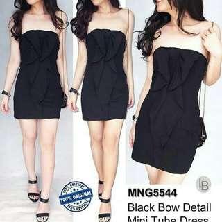 Mango black bow mini dress
