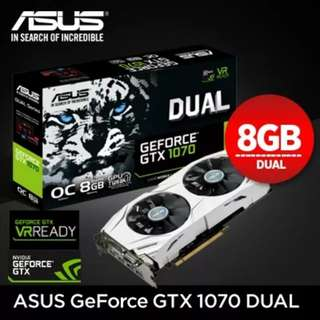 ASUS GeForce GTX 1070 DUAL-GTX1070-O8G 8GB 256-Bit GDDR5 PCI Express Gaming Graphics Card
