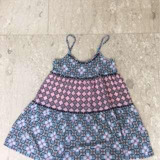 Mini dress with pompom edging