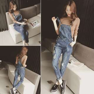 Denim Blue Coloured Crossed Back Designed Ripped Dungaree Overall Jumpsuit