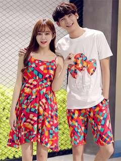 AO/DZC072037 - Bohemia Fashion Couples Colorful Plaids Cotton Couple Suits