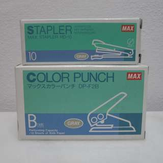 MAX HD-10 Stapler & DP-f2B Color Punch