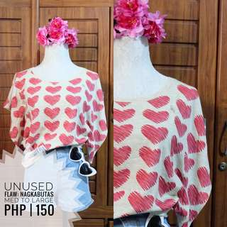 Heart Blouse Top Preloved