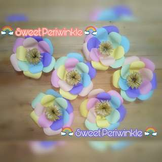 Made to order Paper Flowers in Rainbow Pastel