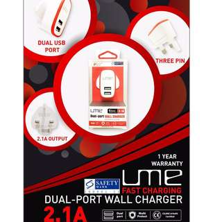 Free Mailing UME DUAL PORT 2.1A WALL CHARGER
