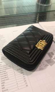 Chanel boy zippy card holder