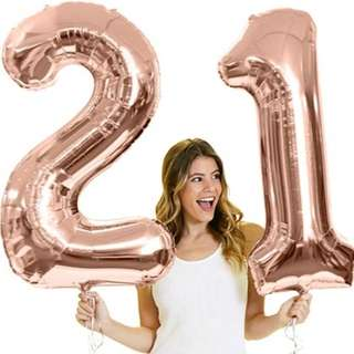 "40"" Rose Gold Number (21) Balloon"