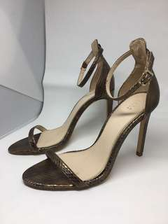 Zara Bronze Snakeskin Ankle Strap Barely There Heels 36