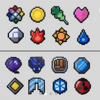 Hama beads design Anime pokemon Pokemon Badges | Indigo, Johto , Hoenn, Sinnoh, Unova and Orange League |Perler Bead | Fuse Bead | 8bit | Nintendo | Sprite