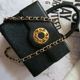Vintage HANAMORI 黑色中古小手袋
