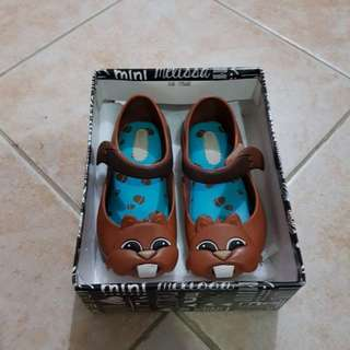 Mini Melissa Baby Shoes Chipmunk Animal Lovers Brown s7 size 7