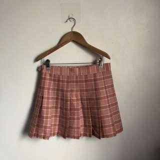粉紅格子百摺裙