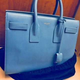 YSL classic sac de jour 鎖頭手袋small size 超靚粉藍色