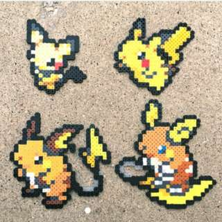 Hama beads design Anime pokemon Pichu | Pikachu | Raichu | Alolan Raichu | Pokemon |