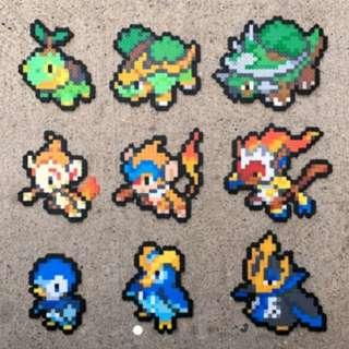 Hama beads design Gen 4 Sinnoh Starters | Tutwig | Grotle | Torterra | Chimchar | Monferno | Infernape | Piplup | Prinplup | Empoleon | Pokemon Perler