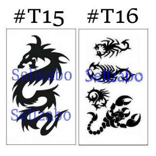 ✔$5 纹身粘纸 : 龙 蝎子 : Dragon : Scorpio : Scorpion : Can Remove Tattoo Stickers : Fake : Wash Off : Mens : Guys : Boys : Male : Body : Face : Skin : Black Colour : Stick : Paste : Tatoo : Tatto : 6cmx10.5cm : 6cm x 10.5cm