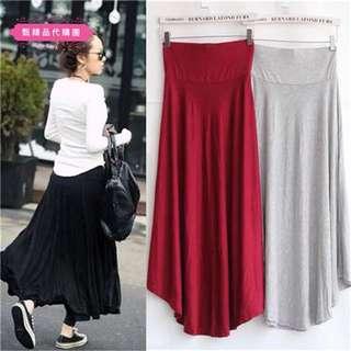 夏季莫代爾棉高腰顯瘦寬鬆不規則半身大裙襬長裙