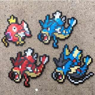 Hama beads design Magikarp   Gyarados   Shiny Gyarados   Mega Gyarados   Pokemon   Perler Bead