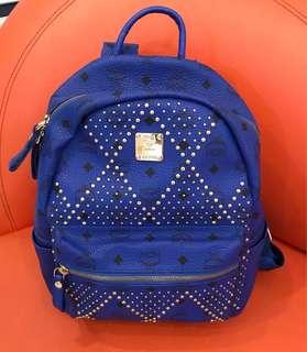 MCM Stud Backpack in Blue